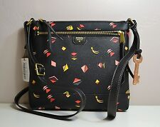 NWT FOSSIL GIFT PRINT BLACK LEATHER CROSSBODY MESSENGER BAG PURSE ZB6688016
