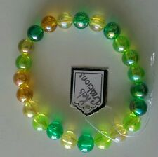 NEW GREEN IRIDESCENT BEADED BRACELET. CUTE, EMO, PUNK, KITSCH