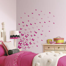 75 New PINK FLUTTER BUTTERFLIES WALL DECALS Girls Butterfly Stickers Room Decor