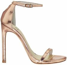 Stuart Weitzman Nudist Rose Gold Ankle Strap Heels Sandals $398 NEW 9.5 9.5M