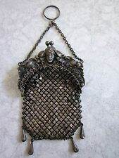 Antique Sterling Art Nouveau Ladies Silver Mesh Chatelaine Finger Ring Purse