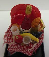Dollhouse mini 1:12 scale Picnic basket w/wine & glasses, fruit, bread & dishes