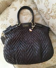 Coach Madison Quilted Chevron Nylon Leather Sophia Satchel Brown