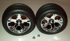 "Traxxas Rustler 1/10 Front All-Star Chrome Wheels Alias Tires Assembled 2.8"" New"