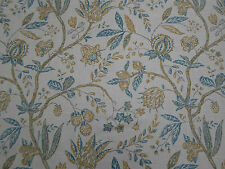 Sanderson Curtain Fabric 'Solaine' 2.4 METRES Teal/Cream - Fabienne Collection