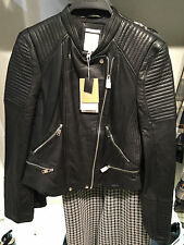 ZARA WOMAN LEATHER BIKER JACKET S 36 Ref. 3461/001 Lederjacke cuir