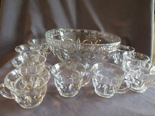 Early American Pattern Glass Bullseye punch bowl set with 10 cups