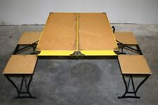 VINTAGE Handy Folding Picnic Table Chair Set Camping Metal Yellow Milwaukee USA