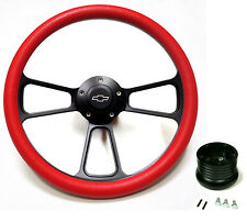 1969 1970 1971 1972 Chevelle Steering Wheel Black Billet & Red Full Install Kit