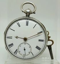 Nice solid silver gents fusee R. M. Nelson Omach pocket watch 1876 working