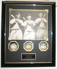 Autograph Picture and Baseballs of Mantle, Williams and Dimaggio