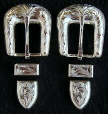 "2 - 5/8"" Hand Engraved Silver Plated Buckle Sets - Spur Straps Headstall     #25"