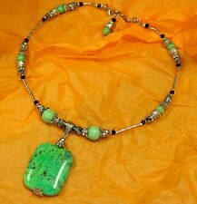 """Beautiful Hand Made Choker Necklace with Serpentine and Halite Beads 18"""""""