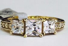 14K Yellow Gold Fancy three-stone princess/square Cubic Zirconia engagement ring