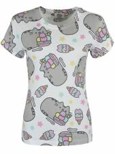 Pusheen the Cat Ice Cream Womans Rolled Sleeve T Shirt Large New White