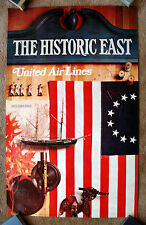 Vintage Original 1972 UNITED AIRLINE EAST USA Travel Poster railway air history