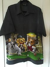 Dragonfly Clothing Bowling Lounge Shirt, Dogs Playing Pool, Black, Size Large
