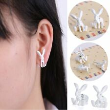 New Charming Womens Anilmal White Hare Pierced Stud Earrings Crystal Jewellery