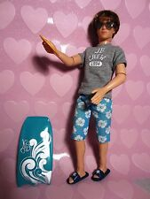 Justin Bieber fashion doll, Barbie size, unmarked, windsurfing, with glasses etc