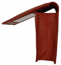 Burgundy Mens leather ID credit business Card Thin Wallet Expandable Case Holder