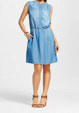 NWT Merona  Women's Light Indigo Tencel Sleeveless Shirt Dress X-SMALL