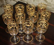11 Stunning Antique Gold Bow Swags BACCARAT Crystal Liquor Sherry Wine Glass Set