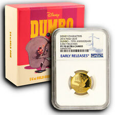 2016 NGC PF70 ER NIUE Disney Dumbo 1/4 oz Proof Gold Coin With Mint Box