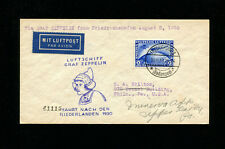 Zeppelin Sieger 98Aa 1930 Netherlands Flight Germany Post to USA RARE FRANKING