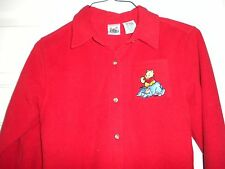 Girls Boys L 10 12 Red Winnie the Pooh & Eeyore Button Fleece Jacket Coat Disney