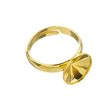 24K Gold Plated Adjustable Ring Base 10mm Rivoli Stone (J73/4)