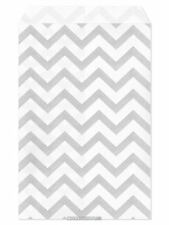 "100 Flat Merchandise Paper Bags: 4 x 6"", Silver Grey Chevron Stripes on White"
