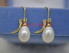 natural 8x11mm white south sea dorp Pearl Stud Earrings 14k GOLD Drop/Dangle
