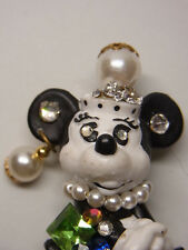 Vintage Design Strass Brosche Brooch Walt Disney Minnie  Maus Figur Bully Nr.65
