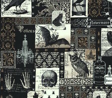 Michael Miller Nevermore Collage Raven Owl Skull Halloween Black Fabric