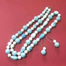 Necklace & pierced earrings, white & aqua plastic beads   B10