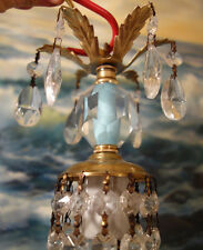 1o3 Vintage crystal ICY Blue Brass Tole SWAG plug lamp chandelier glass prism