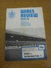 15/10/1978 Rugby League Programme: Warrington v Workington Town (Marked, Team Ch