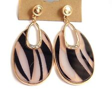 GOLD TONE DANGLE EARRINGS ZEBRA PRINT EARRINGS OVAL SHAPE 2.75 INCH LONG