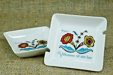 Vintage Set of 2 Berggren Porcelain Ashtray Dish Welcome To Our Home Swedish AZ