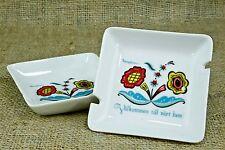 Vintage Set of 2 Berggren Porcelain Ashtray Dish Welcome To Our Home Swedish AZ