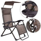 Foldable Zero Gravity Chair Lounge Patio Outdoor Yard  Recliner w/ Sunshade+Tray