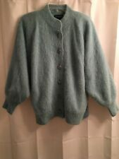 NWOT Venesha ANGORA Mint Green LINED Soft CARDIGAN Jacket Fluffy SWEATER Coat L