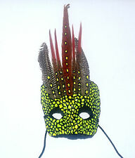 Black and Yellow Mask -Handmade with Unique Feathers