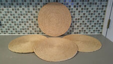 Set of 4 Natural Fiber Placemats with a  Lidded Storage Basket Round Table Mats