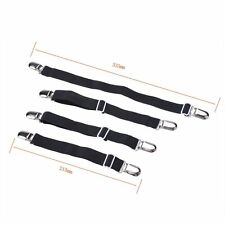 Adjustable Sheet Mattress Corner Straps Suspenders Elastic Smooth Tight Bed Blk
