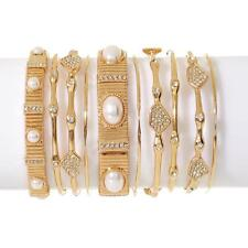 R.J. GRAZIANO PAVE CRYSTAL & SIMULATED PEARL GOLDTONE 10-PIECE BRACELET SET HSN