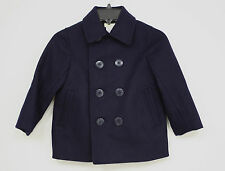 j crew crewcuts Coat Navy Blue Peacoat Wool Blend Toddler Boys Size 3 NWTS New