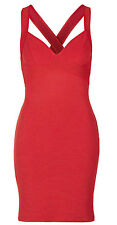 Topshop UK 12 Plunge Ribbed Bodycon Bandage Dress Sweetheart Bust Strappy New