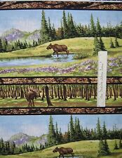 Riverwoods Fabric - Moose Nature Scene Stripe Wild in the Wilderness Cotton YARD