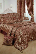 DOUBLE BED DUVET COVER SET DAMASK RAAJH GOLD BURGUNDY JACQUARD HOTEL QUALITY